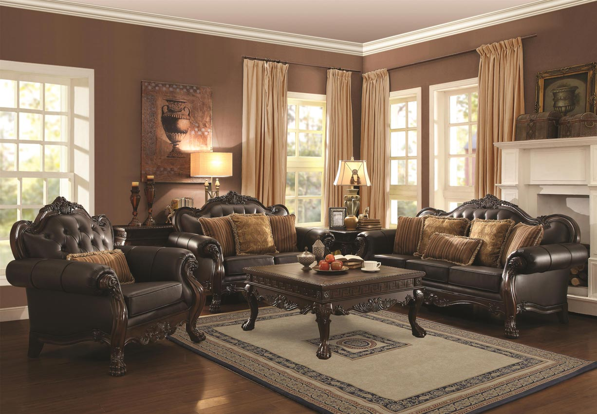 2 Pcs Amairani Traditional Leather Sofa Set with Intricately Carved Wood  Frame