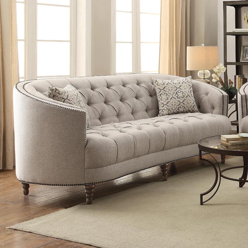 Avonlea C Shaped Sofa with Button Tufting and Nailhead Trim p 4977