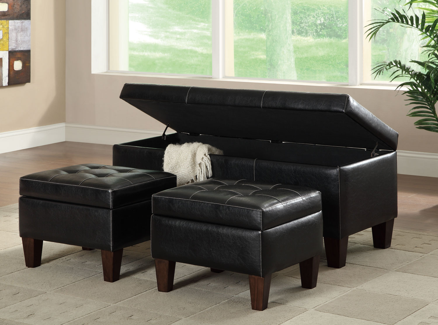 Groovy 3 Piece Faux Leather Storage Bench Set Ncnpc Chair Design For Home Ncnpcorg