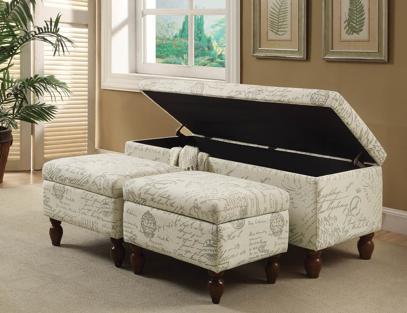 Excellent 3 Piece French Script Linen Storage Bench Set Ncnpc Chair Design For Home Ncnpcorg