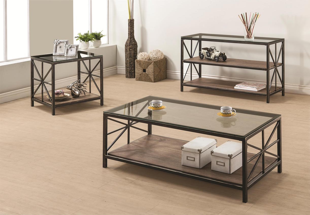 - Avondale Rustic Coffee Table With Wood Shelf And Glass Top