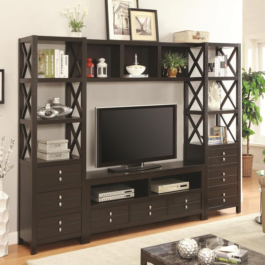 Entertainment Wall Unit With 9 Drawers And Shelves