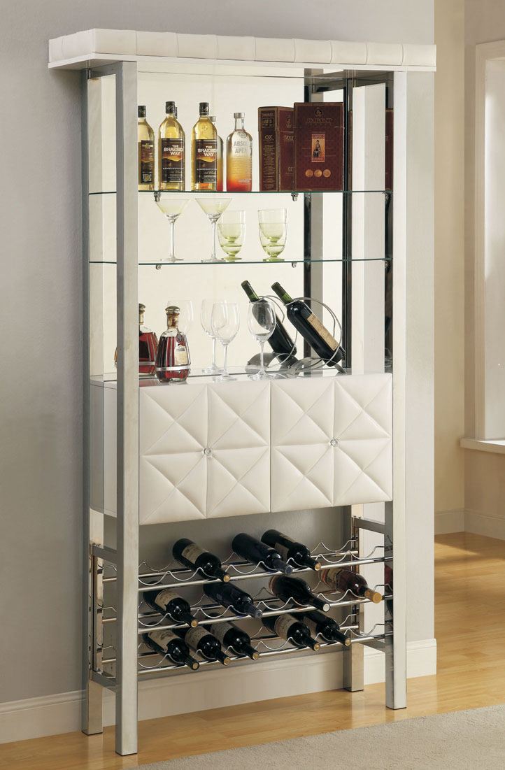 White Finish Modern Bar Cabinet