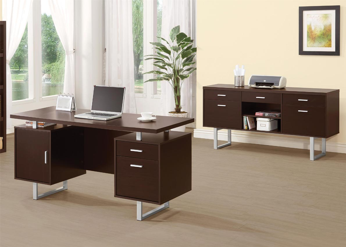 Double Pedestal Office Desk With Metal Sled Legs Umf801521