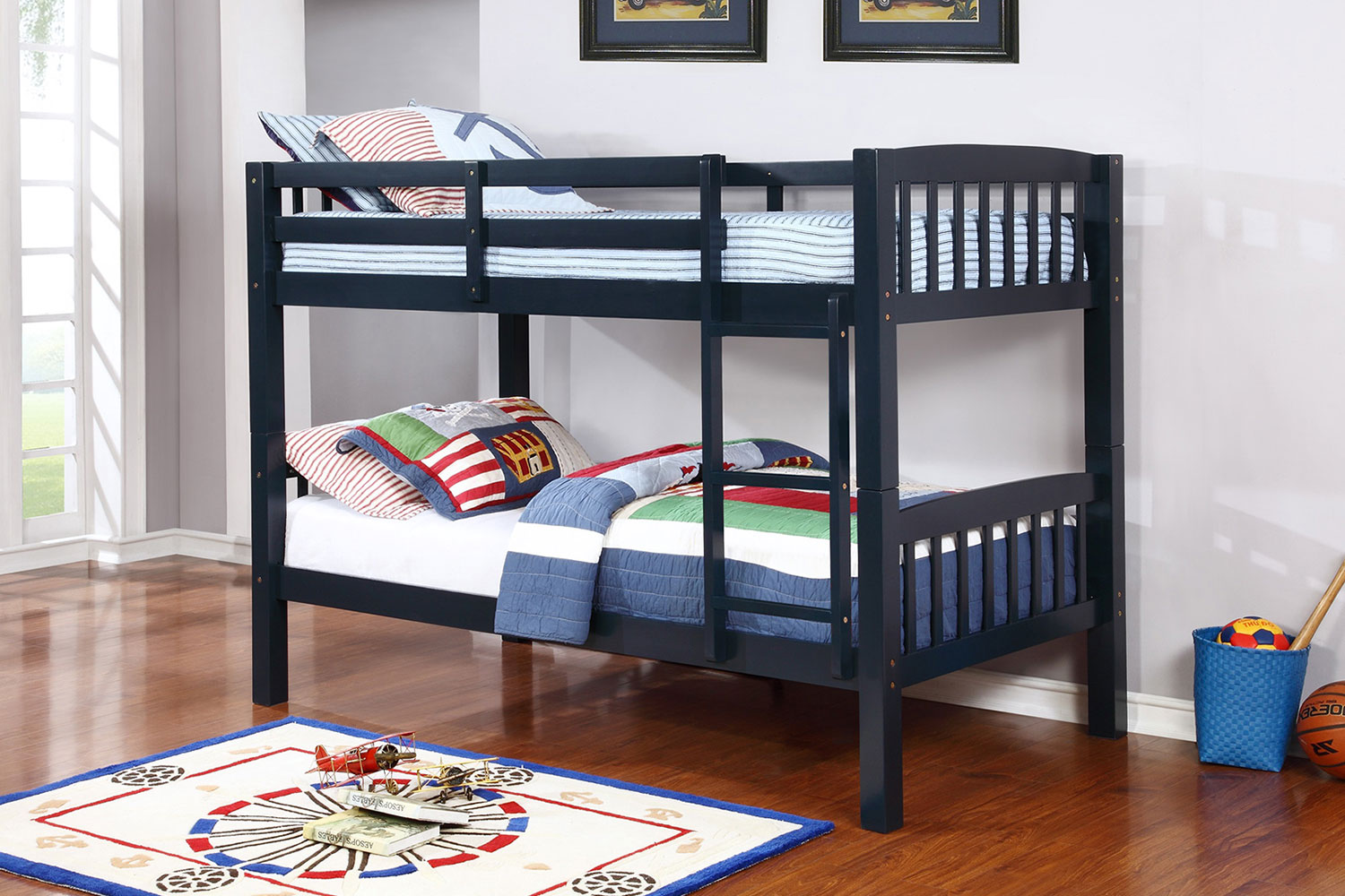 Picture of: Twin Convertible Wooden Bunk Bed Blue Espresso And Oak U