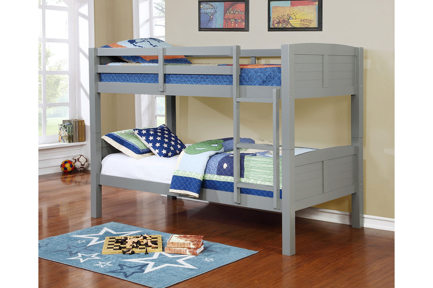 Powell White Twin Bedroom In A Box: Twin Convertible Wooden Bunk Bed
