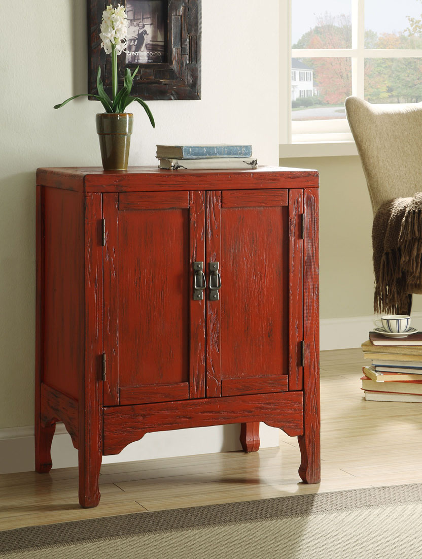 Antique Dark Red Finish Console Table