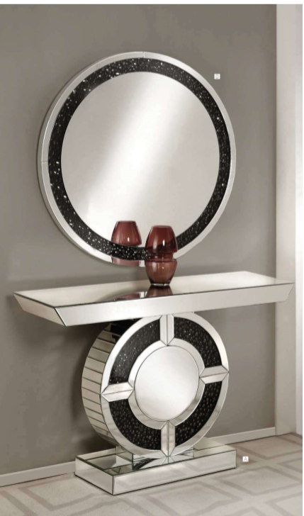 Noor Circle Mirrored Console Table