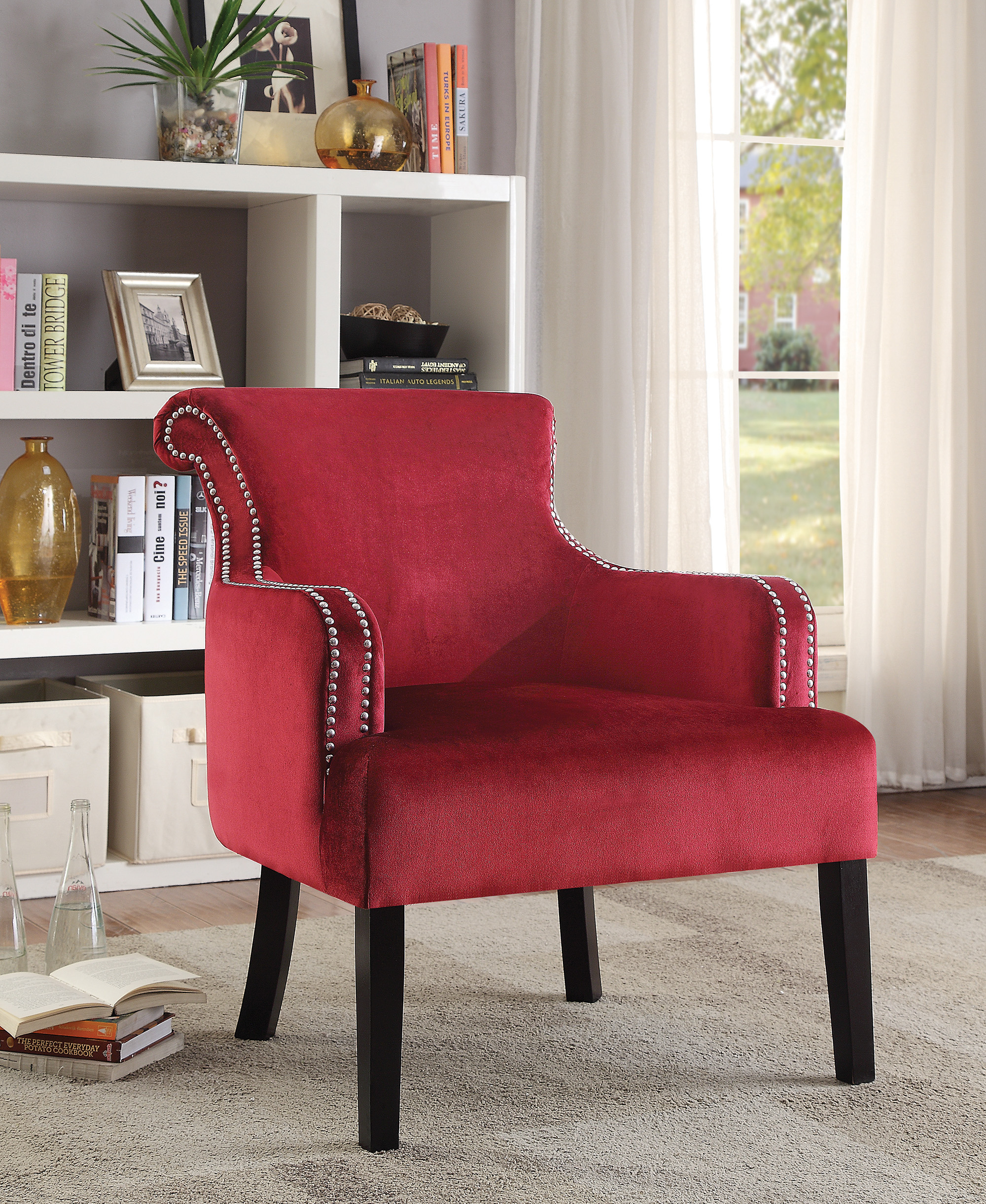 Red Velvet Accent Chair With Nailhead Trim
