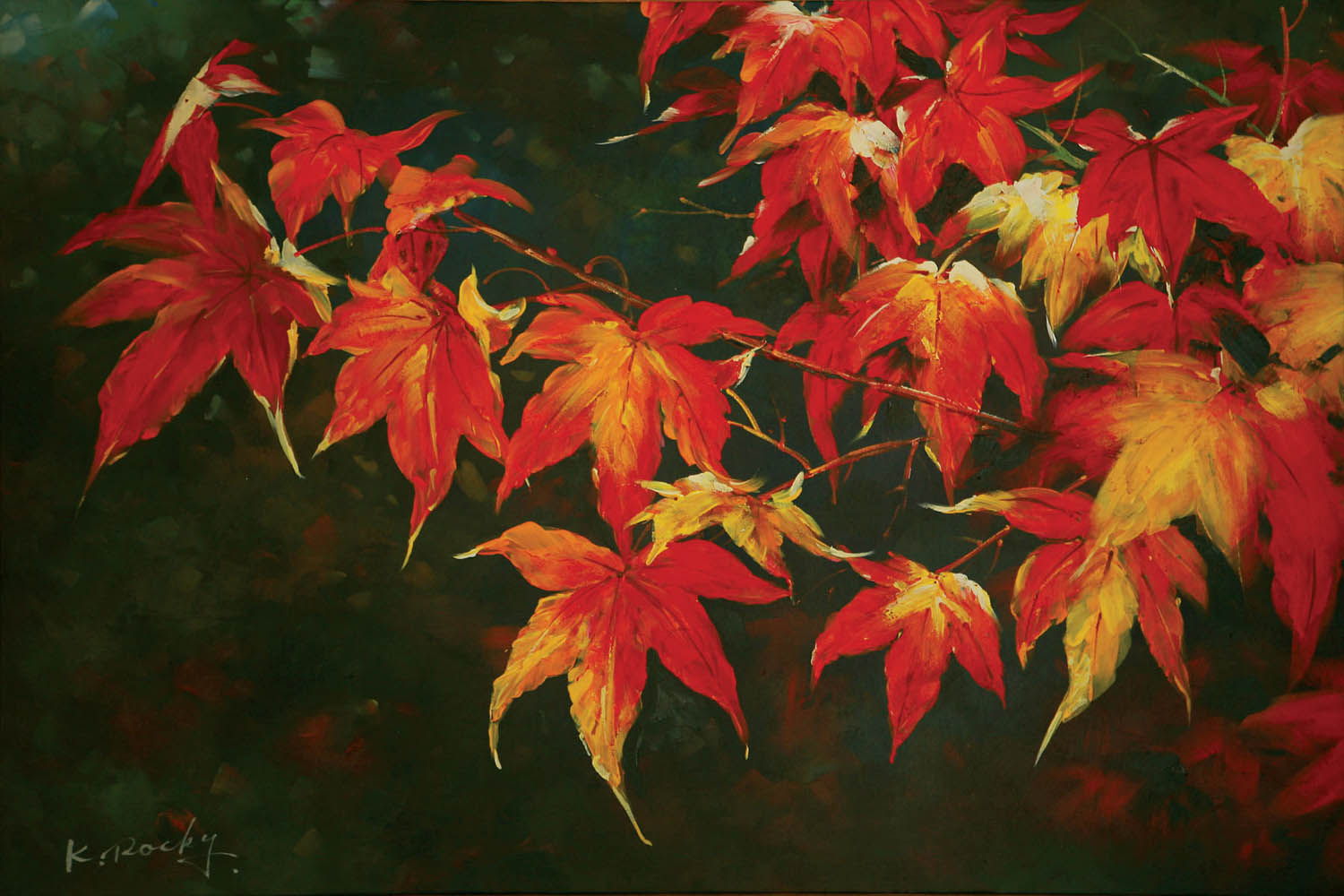 autumn leaves oil canvas painting