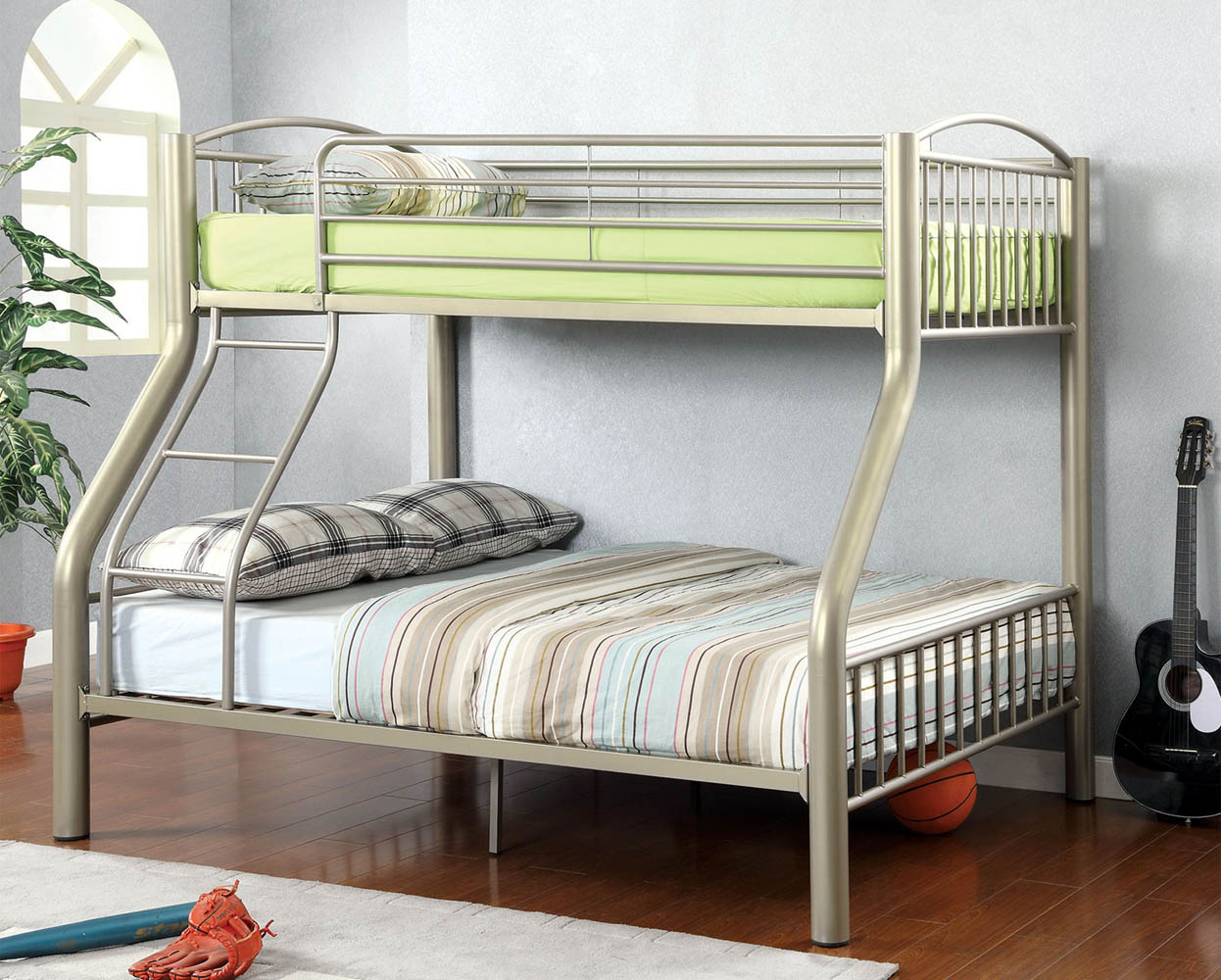 Picture of: Heavy Duty Silver Twin Full Metal Bunk Bed With Mattress