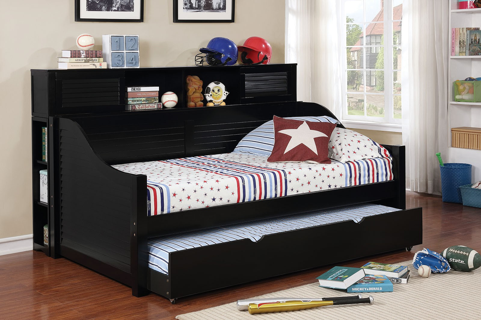 - Cottage Style Day Bed- With Bookcase Option-UMFCM1951BK