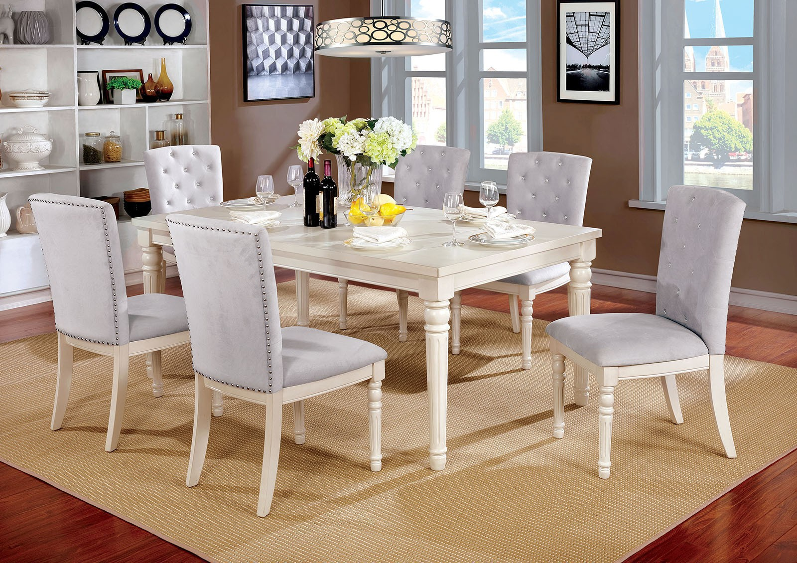 7 Pcs White Dining Set With Crystal Like Button Tufted Chair