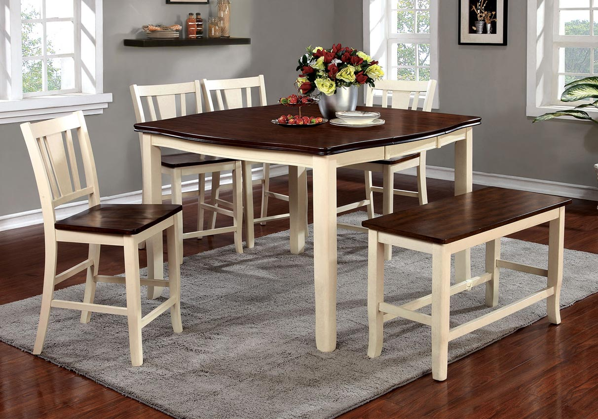 8 Pcs Cherry Vintage White Counter Height Dining Table Set