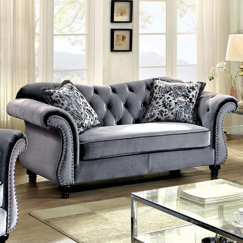 grey living room furniture grey button tufted seat 11795