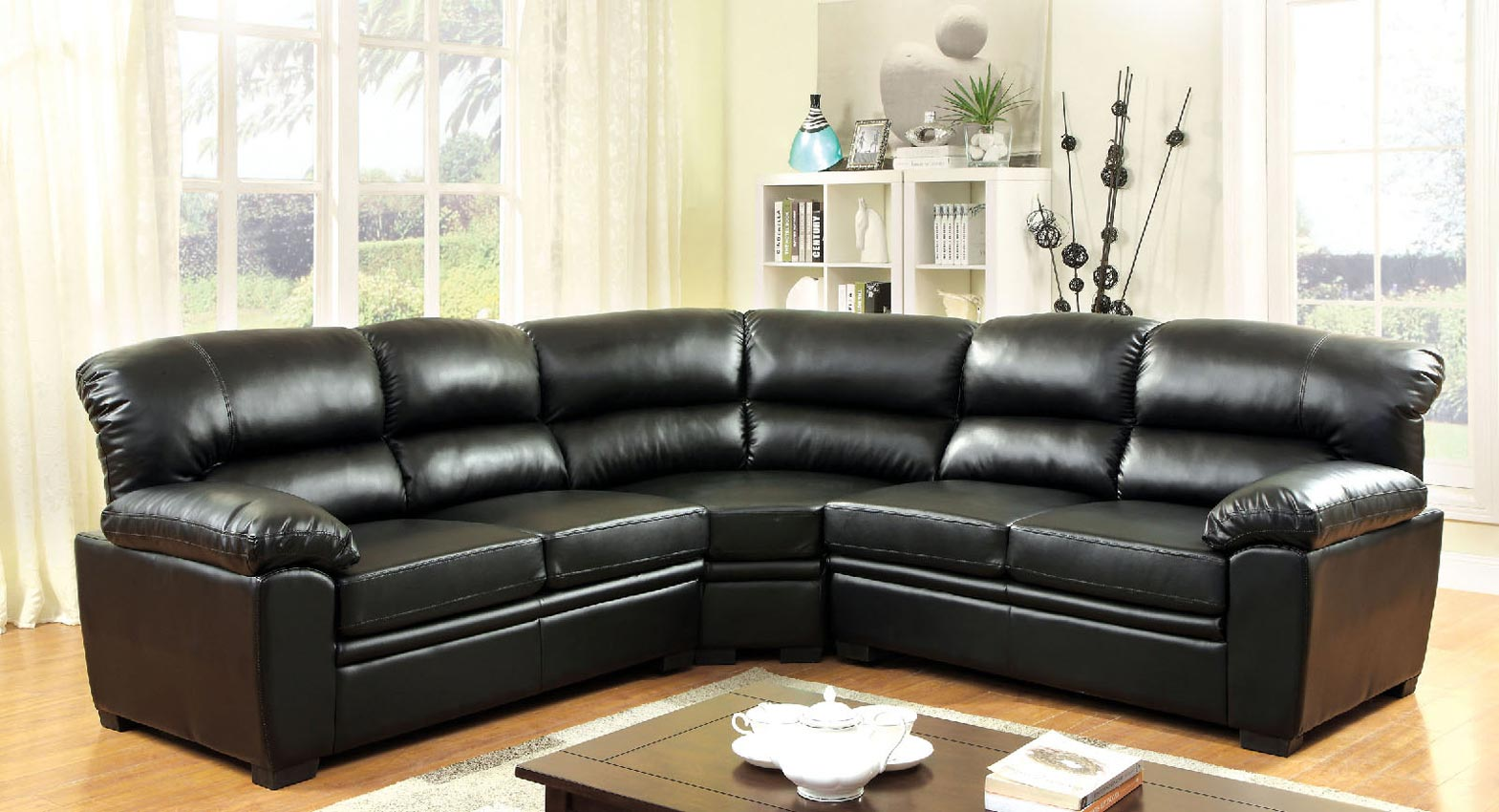 Black Leather Sectional Sofa Set