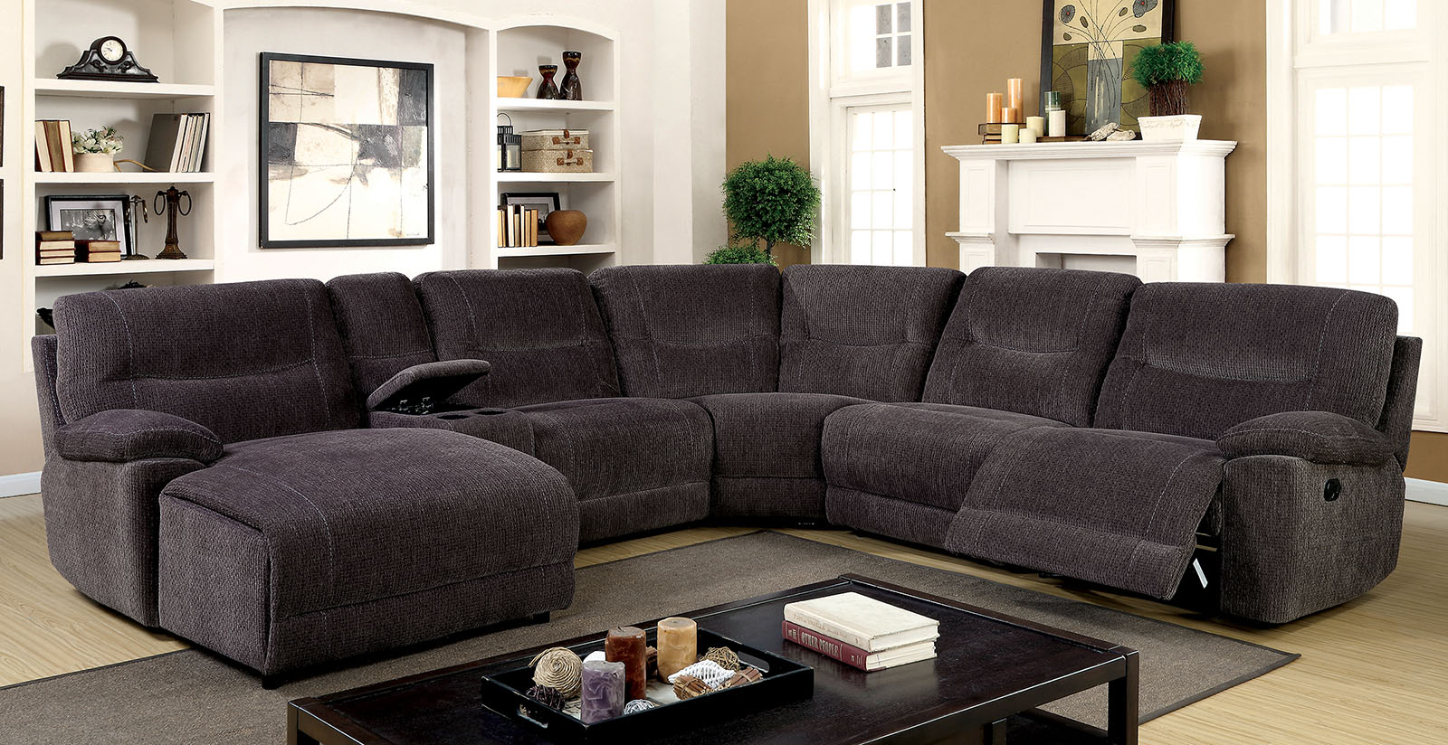 Grey Chenille Fabric Recliner Sectional