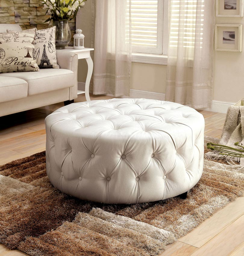 Cool White Tufted Bonded Leather Circle Ottoman Gmtry Best Dining Table And Chair Ideas Images Gmtryco