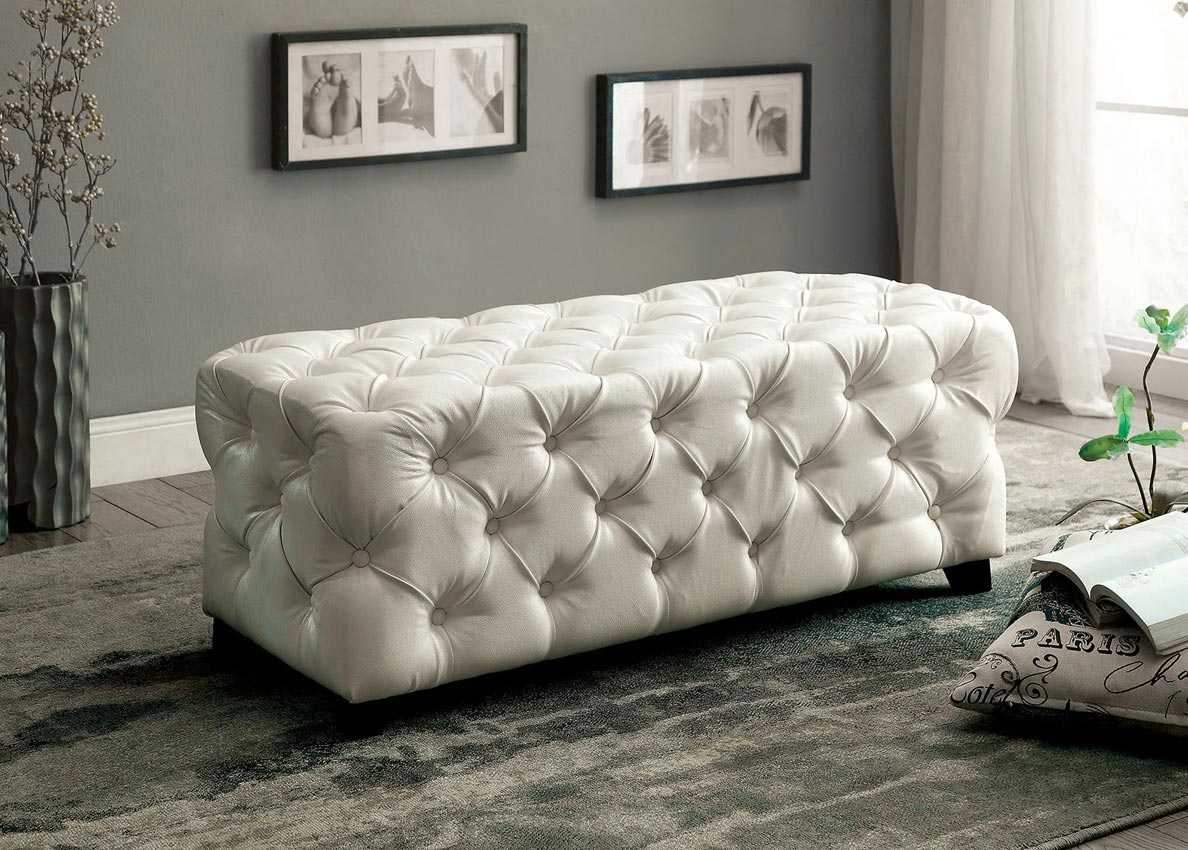 White Tufted Bonded Leather Rectangular Ottoman
