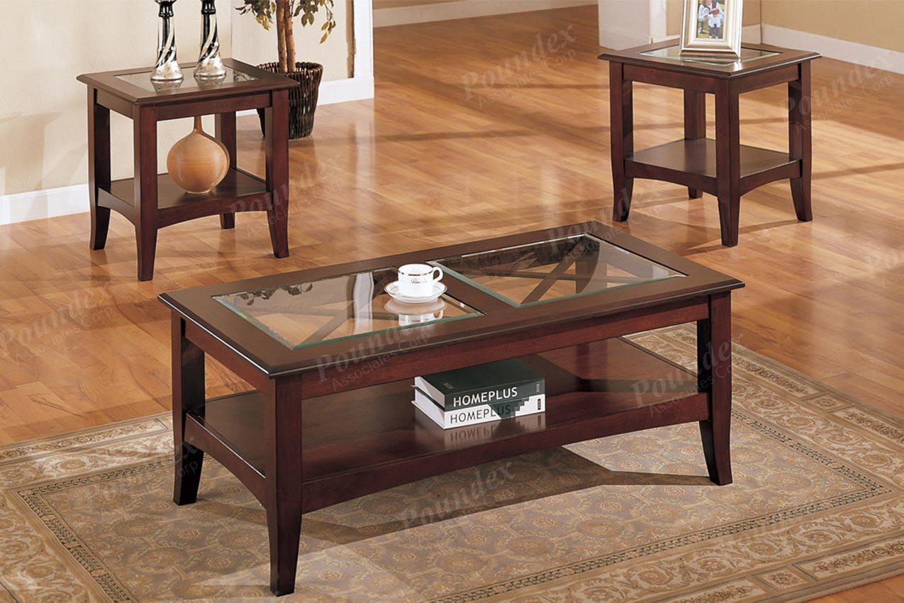 - 3 Pcs Wooden And Glass Coffee Table Set