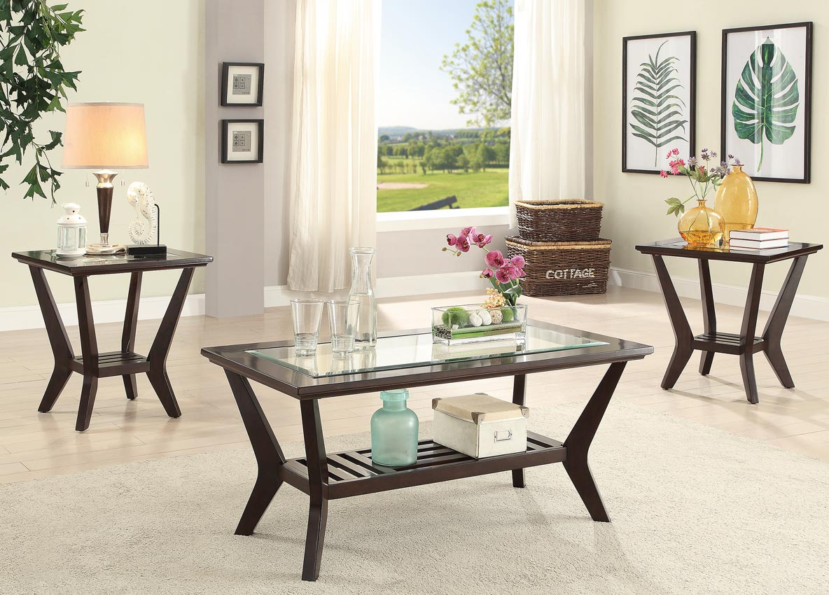 3 Pcs Wooden with Glass Coffee Table Set-UMFF3111