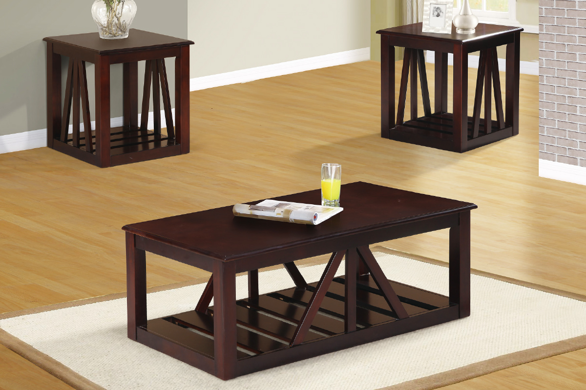 3 Pcs Wooden Coffee Table Set