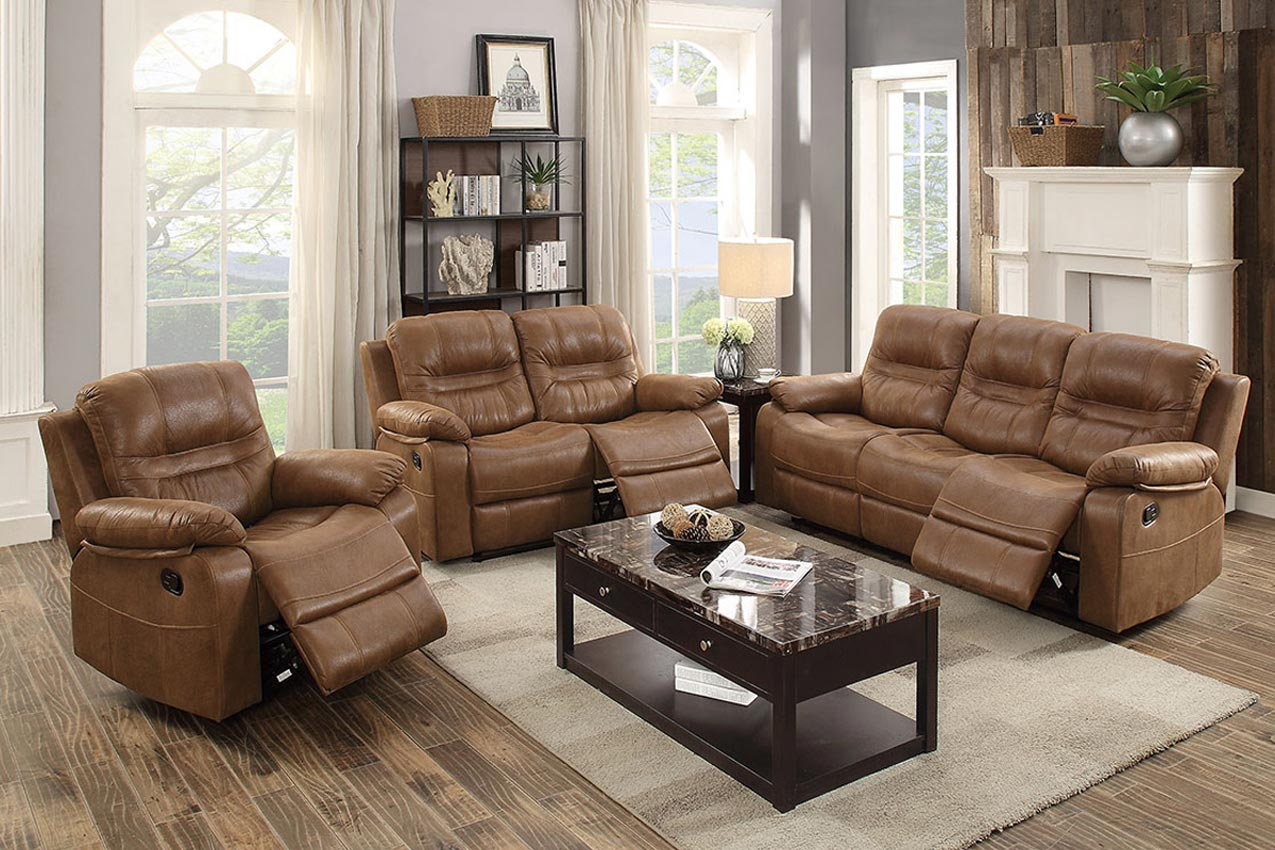 Dark Brown Breathable Leather Motion Sofa
