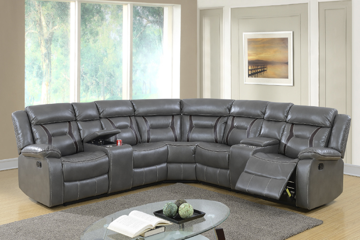 Gel Leatherette Sectional Recliner Dark Brown And Grey