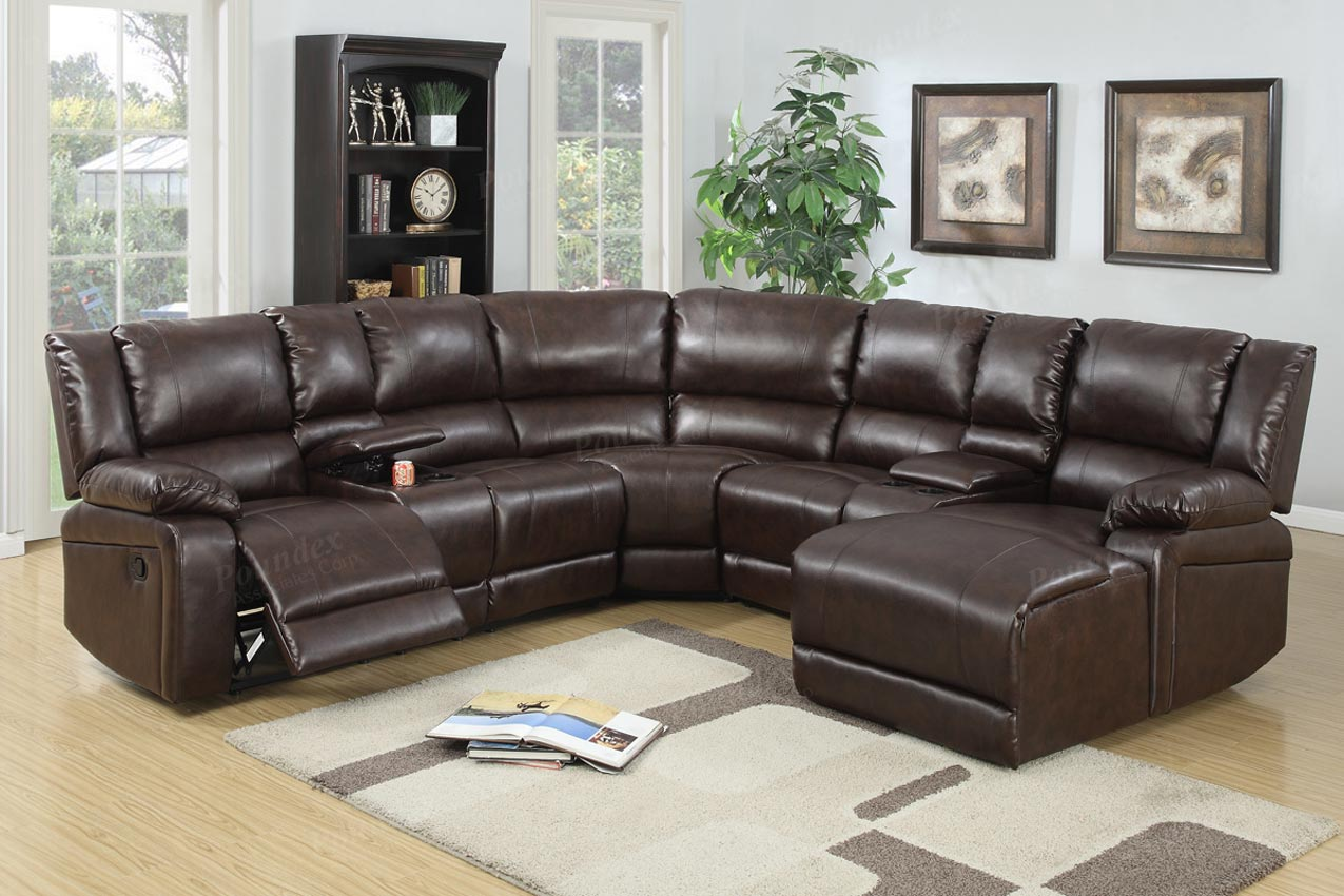 5 Pcs Reclining Sectional Brown Leather Sofa Set