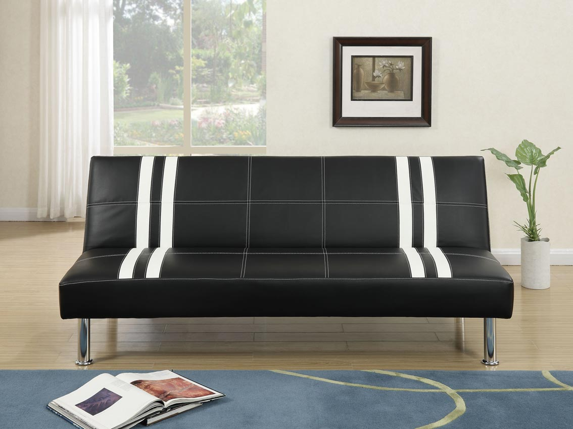 Black And White Faux Leather Sofa Bed