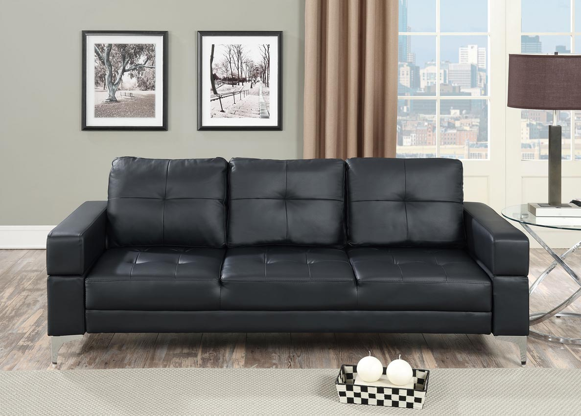 - Black Faux Leather Futon Adjustable Sofa Bed