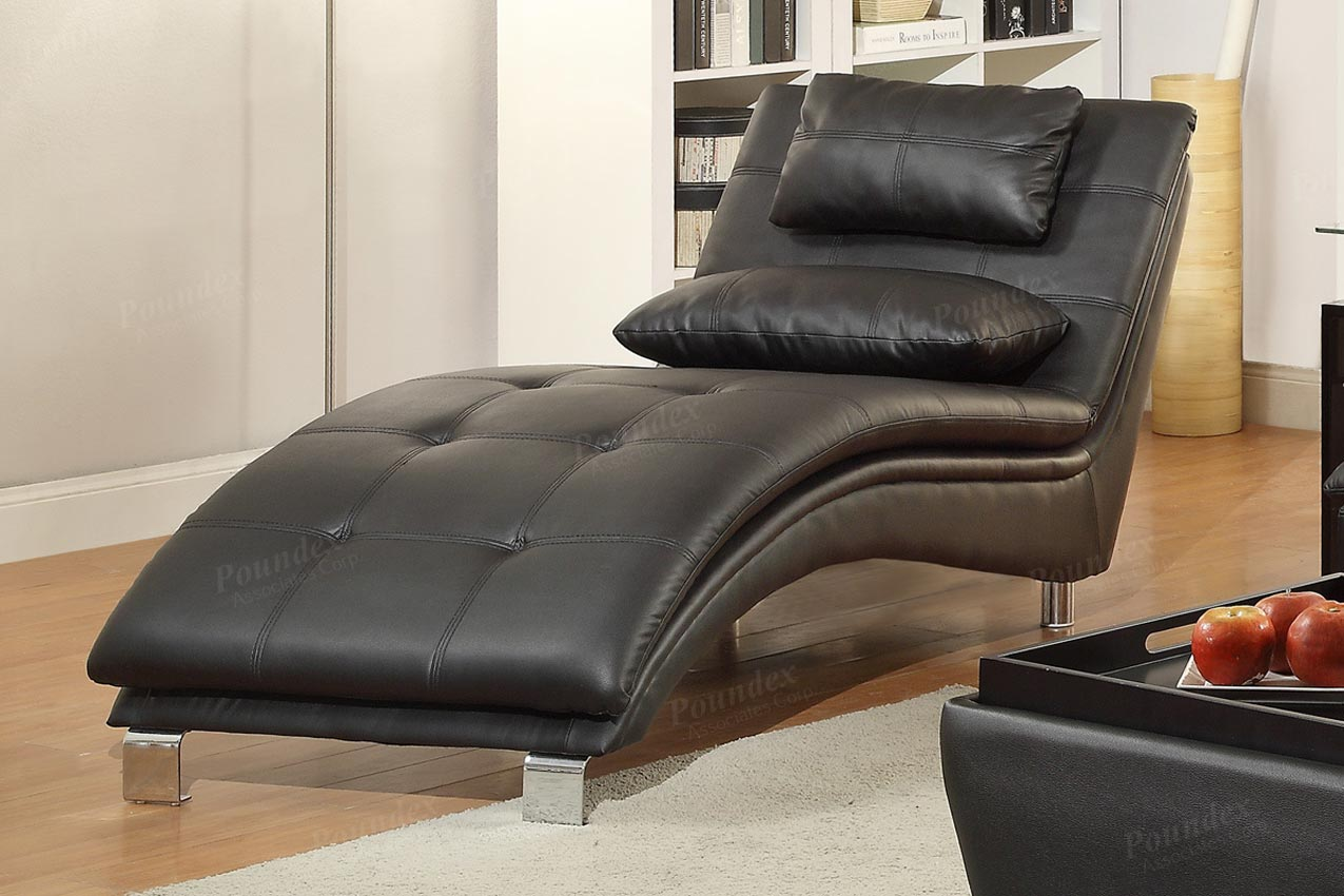 - Duvis Black Leather Chaise Lounge-UMFF7839