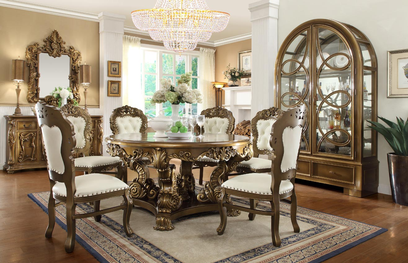 5 Pcs Antique Style Circle Dining Table Set
