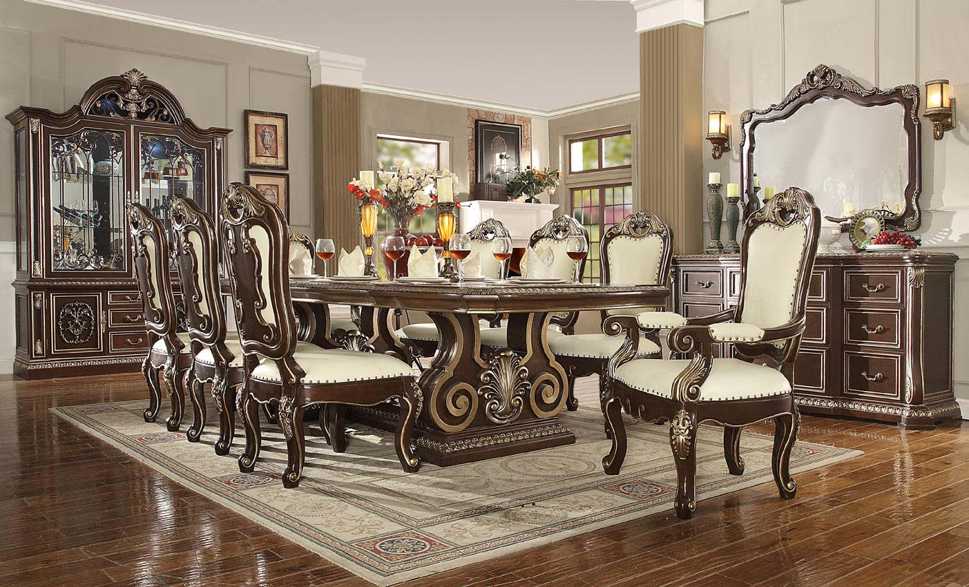 7 Pcs Antique Style Dining Table Set