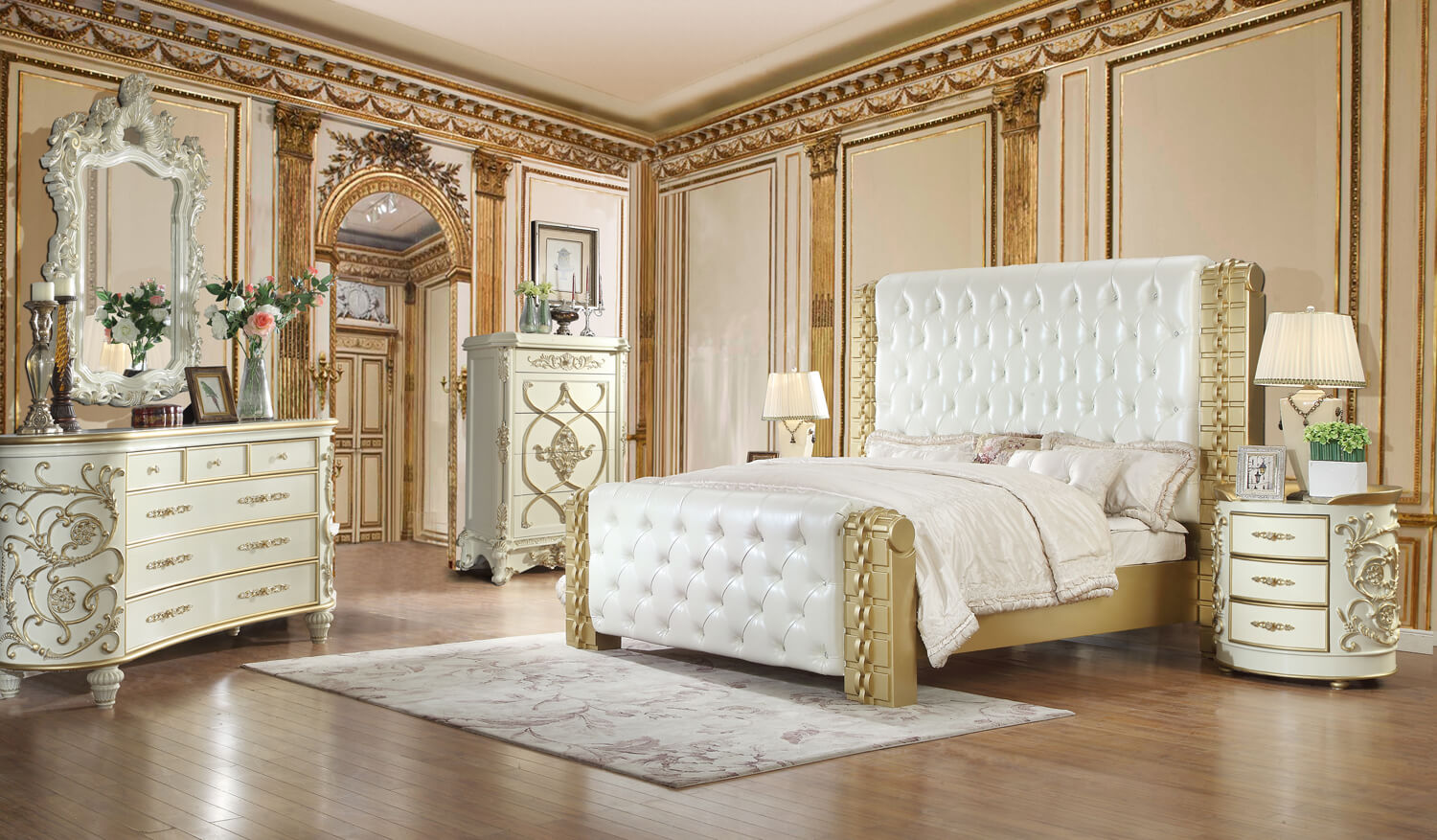 Gold and White King Bed Frame