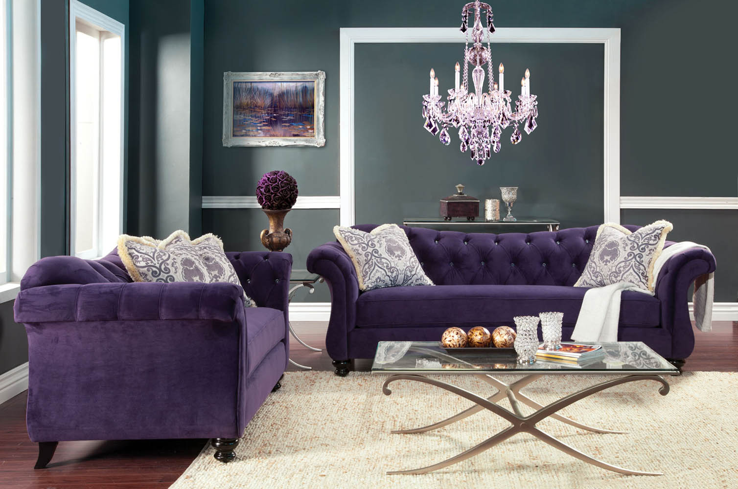 2 Pcs Traditional Sofa Set - Button Tuffted - Purple, Navy, Black or Charcoal