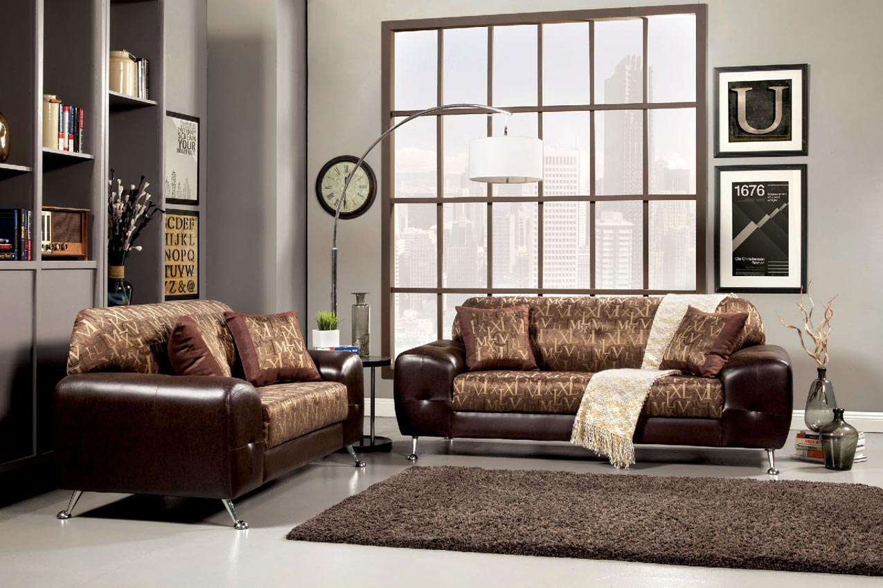 2 Pcs Gold Contemporary Sofa Set