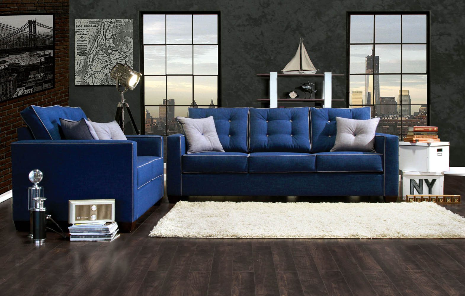 2 Pcs Blue Sofa Set