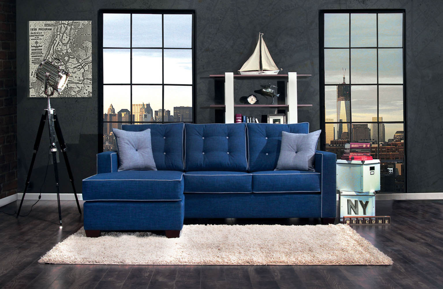 Blue Sectional Sofa Set