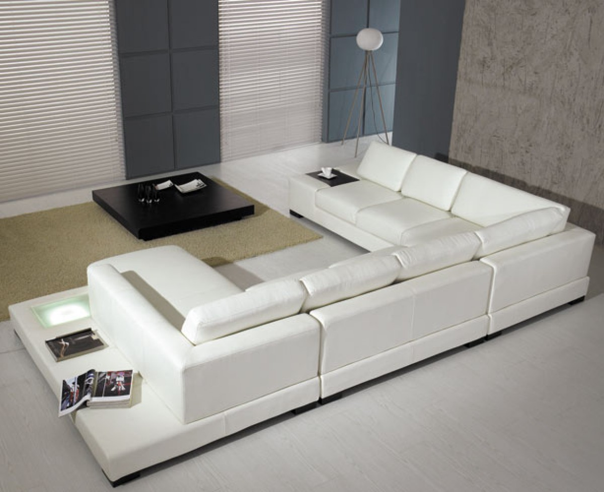 White Modern Leather Sectional Sofa with Light