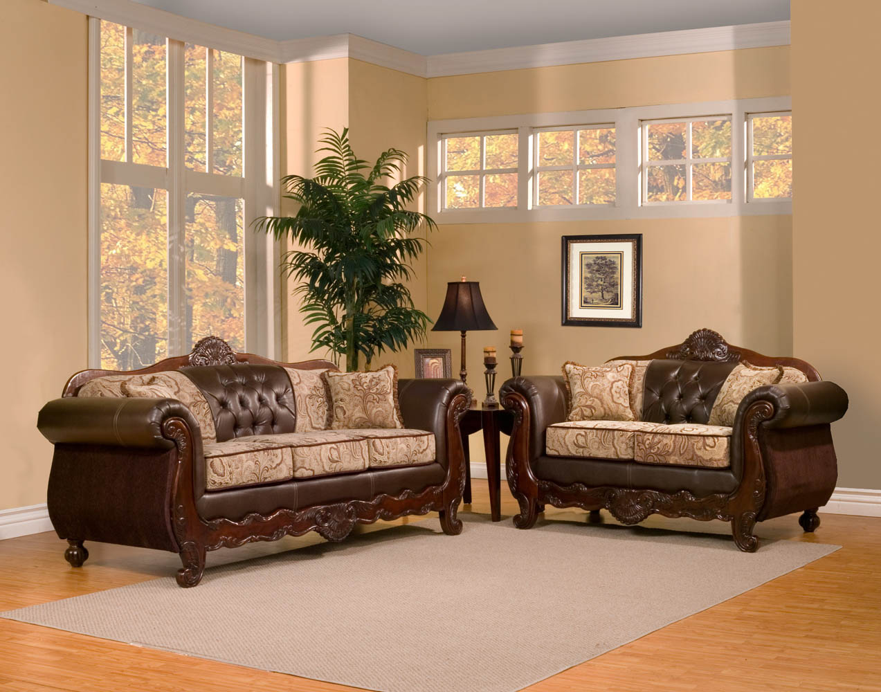 2 Piece Traditional Elegant Sofa Set