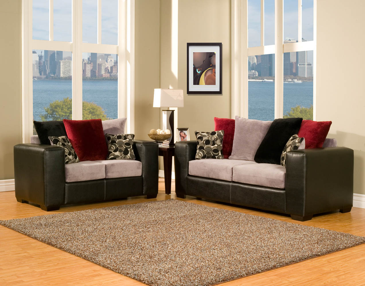 2 Piece Black Grey And Red Modern Sofa Set
