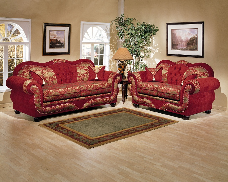 2 piece gold on red persian style sofa set for 2 piece red sectional sofa