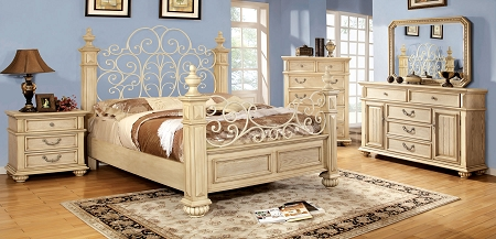 Antique White Finish Queen Bed Frame