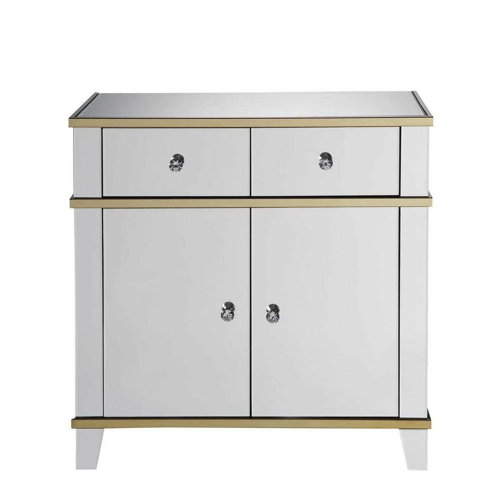 Mirrored Console Table with Gold Trim