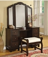 Annapolis Brown Finish Vanity Desk and Stool