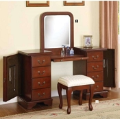 Louis Philippe Brown Finish Vanity Desk