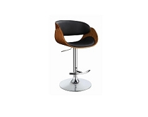 Adjustable Bar Stool Black and Chrome