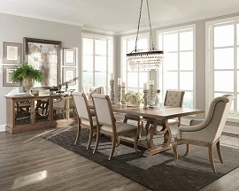 Glen Cove Traditional Barley Brown Dining Table Set