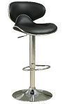 Upholstered Adjustable Height Bar Stools Black or White and Chrome (Set of 2)